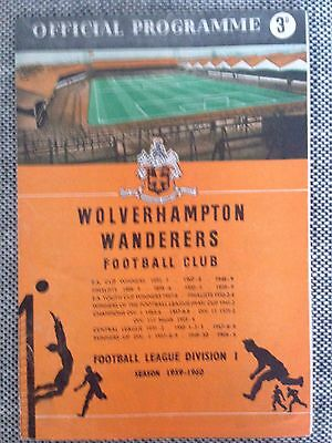 1959 Charity Shield Programme : Wolves v Notts Forest
