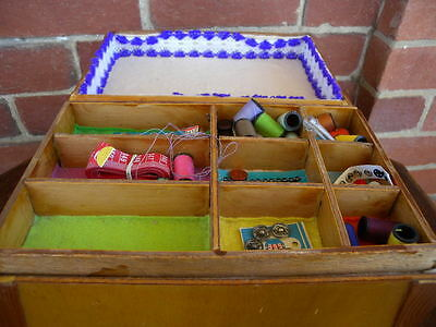 Vintage Timber Sewing Craft Box Handmade