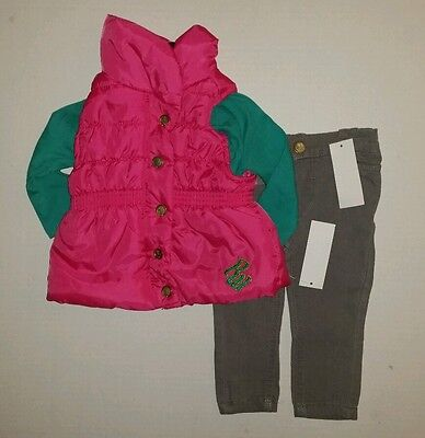 Rocawear Girls Set 3 Piece Outfit Puffer Vest , Jean Pants & Shirt Size 12 Month