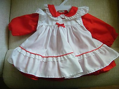 Red Dress w/Pinafore for Lee Middleton or Other Modern Doll 11&1/2 In L Made USA