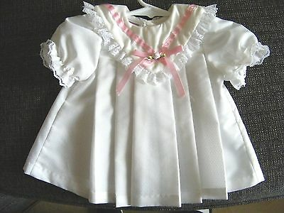 White Dress w/ Little Dots for a Lee Middleton or Other Modern Doll 13 Inches Lo