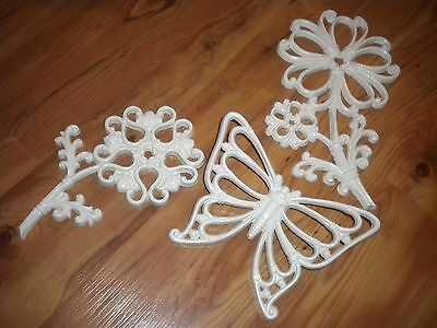 Vintage Home Interiors  Flowers  & Butterfly Wall Decor Plaques Accents 1978