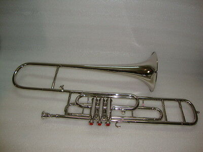 **BUY IT NOW!NEW NICKEL PLATED Bb FLAT VALVE TRUMBONE FREE HARD CASE+MOUTHPIECE