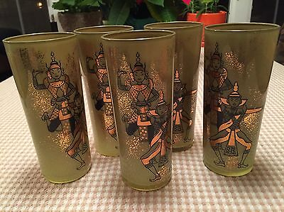 Vintage Hand Painted Tom Collins Glasses-Artist Unknown (5 Pieces)