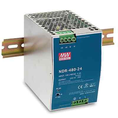 DRP-240-24 replacement 480W 24V 20A, DIN Rail Power Supply NDR-480-24 - MeanWell
