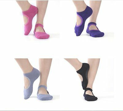Women Open Front Yoga Sock Sport Fitness Pilate No Toes No-Slip Massage Cotton N