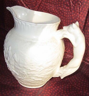 WHITE JUG  With Wolf Handle.........ANTIQUE