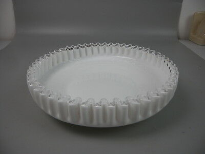 Vintage White Milk Glass Bowl with Clear Ruffled Rim