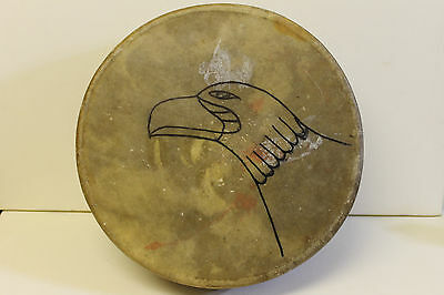 EARLY 20c EAGLE AMERICAN NATIVE INDIAN MOOSE HIDE DRUM