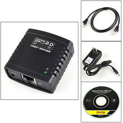 USB 2.0 LRP Print Server Share a LAN Networking USB Printer Ethernet Adapter -