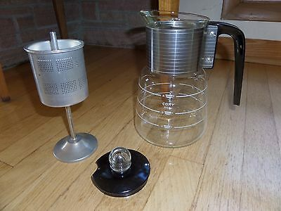 Vintage Mid Century CORY DGPL 4 - 8 Cup Stove Top Glass Percolator Coffee Pot