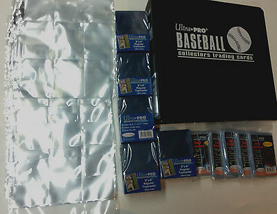 125 ULTRA PRO 3x4 Hard Plastic toploaders& soft sleeves& 9 pocket pages& binder