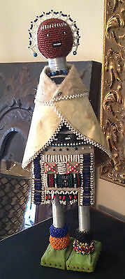 Vintage South African Ndebele CEREMONIAL Hand Made Beaded Animal Hide Caped Doll