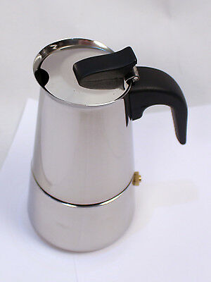 2 Cups Stainless Steel Moka Espresso Coffee Maker Percolator Stove Top Pot