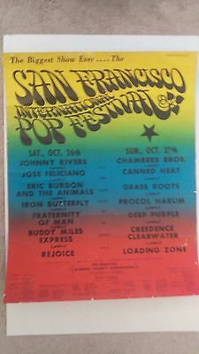 Creedence Fogerty Burdon Animals Purple Heat  Butterfly Harum San Concert Poster