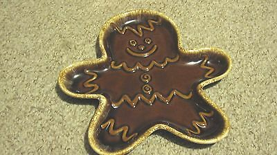 Vintage Hull Pottery Brown Drip Gingerbread Cookie Plate Tray Excellent No Chips