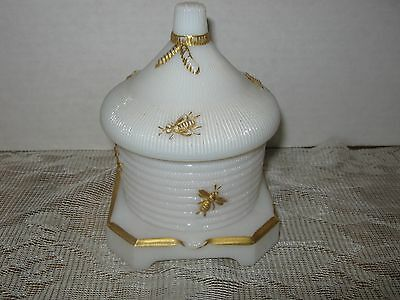 Vintage Imperal White Glass Honey Pot with Gold Bees and Lid (Pre-owned used)