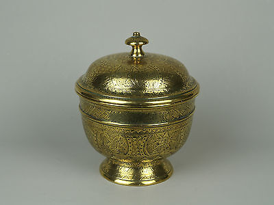 A 19th c. Indonesian (East Java) Brass Betel Bowl & Cover.