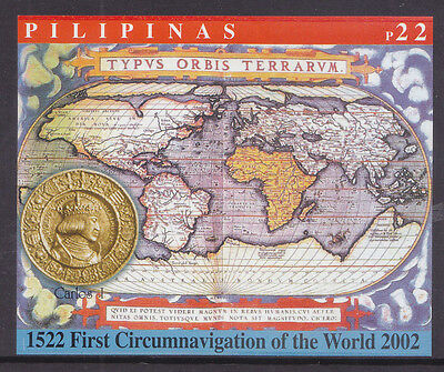 Philippines Stamps 2002 MNH First Circumnavigiation World Map S/S