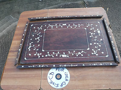 Vintage Wooden Tray  With  Mother Of Pearl Inlay.    Free  Delivery