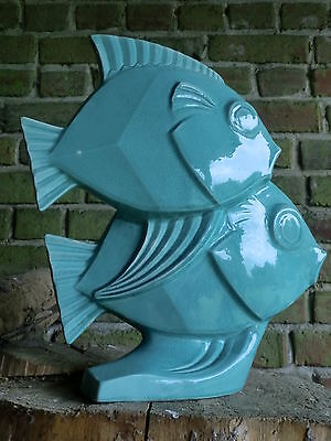 French Art Deco Lejan Rare Signed  Double Ceramic Fish Sculpture - Le Jan