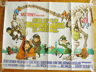 Vintage Original Disney One Of Our Dinosaurs Is Missing quad film poster 1975