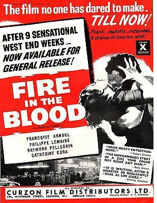 1955 A4 Film Trade Magazine Advert Fire In the Blood Francoise Arnoul
