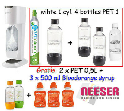 SodaStream Genesis WHITE Sparkling Water Maker SET + Gaz 4+ 2 Bottle +3 Syrup