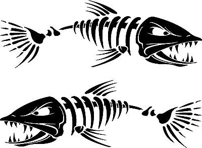 BOAT DECALS SKELETON FISH PAIR 15 COLORS 300mm