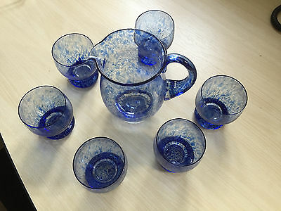 Antique Blue glass water jug and six tumblers