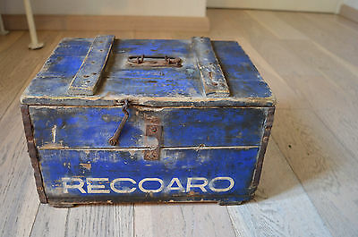 Old 50s Recoaro Gingerino Carrier wooden box Trunk chest advertising  Italian