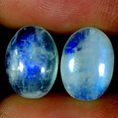 12.75Cts. 10X14MM 100% NATURAL RAINBOW MOONSTONE OVAL CABOCHON PAIR GEMSTONES