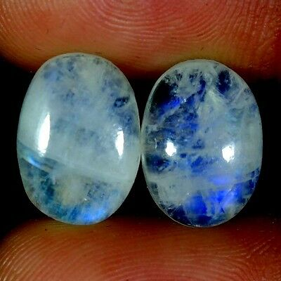 11.55Cts. 10X14MM 100% NATURAL RAINBOW MOONSTONE OVAL CABOCHON PAIR GEMSTONES