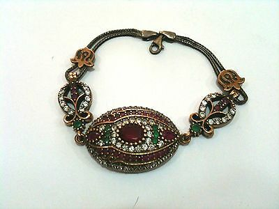Vintage Women Silver 925 Bracelet With Ruby Stone-Antique Model-Turkish Style