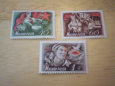 Stamps     Unused Was Hinged   3 Stamps   Magyar Posta   (Hungary)   1952