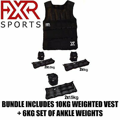 (Bundle) Fxr Sports 10Kg Weighted Vests And 6Kg Set Of Ankle Weights Fitness Gym