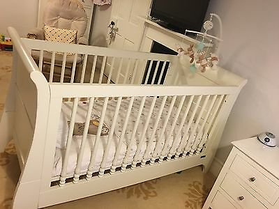 Mamas And Papas  sleigh cot bed, Mattress, Bedding And Mobile