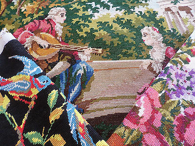 3 Vintage French Needlepoint Tapestries, Romance, Parrots, Roses & Lilac