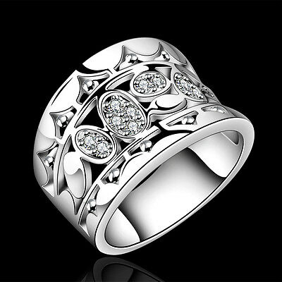 New Ladies Men'sGift Jewelry 925Sterling Silver Diamond Ring size O