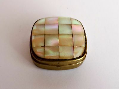 Vintage Antique Round Small Box in Metal and Mother of Pearl