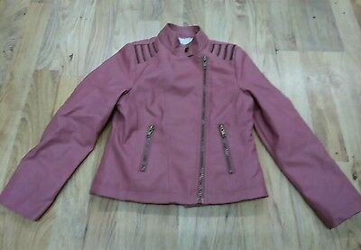 Girls faux pink leather coat fleecy lining 8-9 years matalan excellent condition