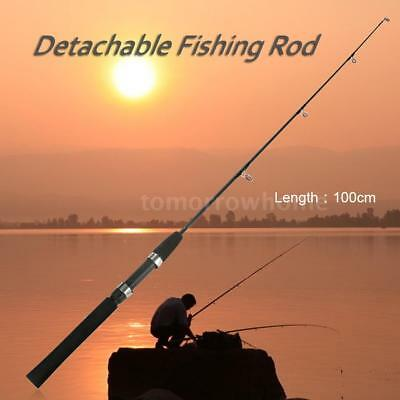 1m/0.8m 2 Sections Solid Fishing Rod Ice Fishing Rod Boat Rod Pole Tackle T9J7