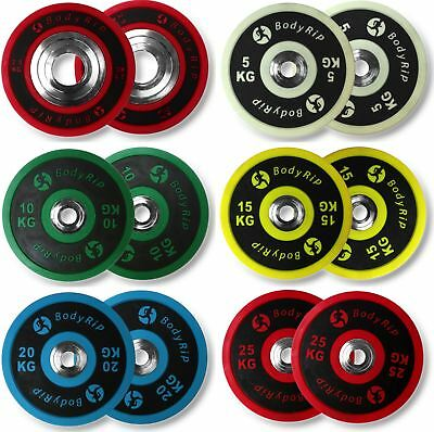 "BodyRip 2"" Olympic ELITE Competition Bumper Plates PU Weights  Powerlifting Gym"
