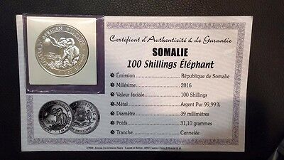 SOMALIE 100 Shillings Argent 1 Once Elephant 2016 - 1Oz silver coin
