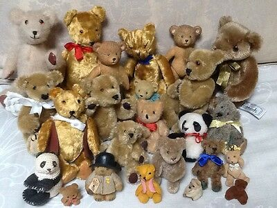 Large Bundle Of Cute Little Vintage Teddy Bears Looking For A New Home