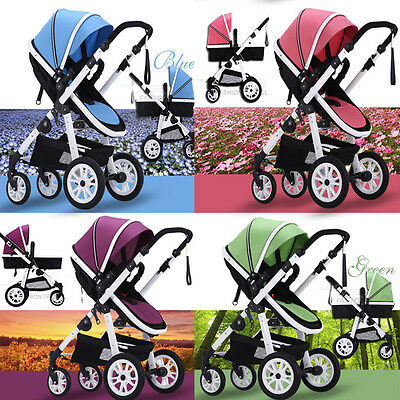 New Strong Aluminium Frame 4 Wheel Baby Pram/Stroller With Bassinet,Three Color