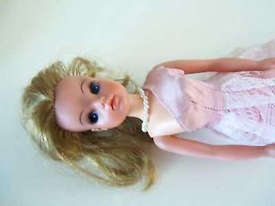 Sindy Strawberry Blonde vintage doll in Pink frilly evening dress and pearls