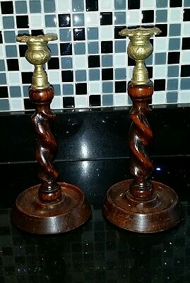 Wooden Barley Twist Candle Holders