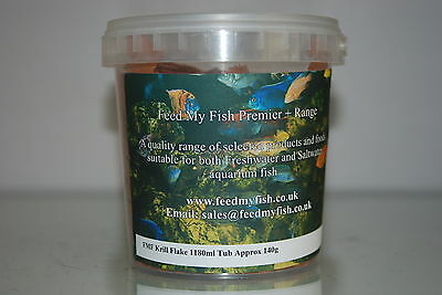 Aquarium Krill Flake Fish Food Suitable for Tropical Fish 1180ml Tub approx 140g