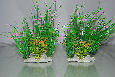 Aquarium 2 x Yellow & Green Plants 9 x 4 x 15 cms Suitable For All Aquariums